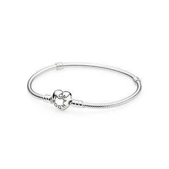 "Moments Heart Clasp Snake Chain Bracelet, 6.3"""