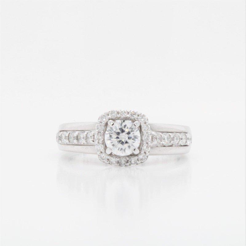 Paragems 18K Diamond & CZ Halo Engagement Ring, 0.45 TDW