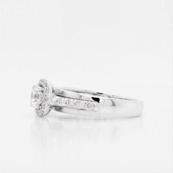 18K Diamond & CZ Halo Engagement Ring, 0.45 TDW