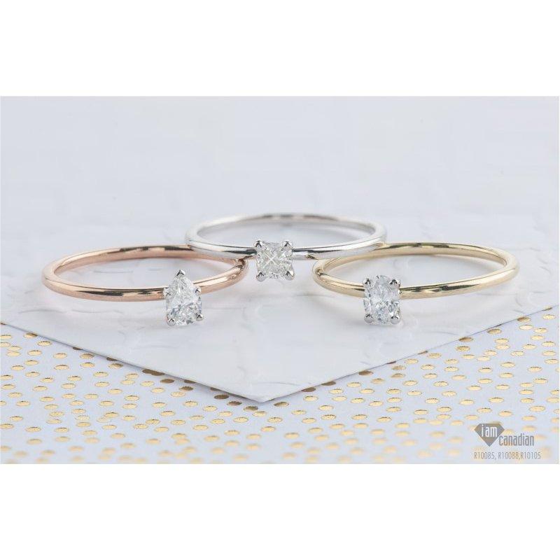 I Am Canadian 10K Pear Engagement Ring, 0.23 TDW