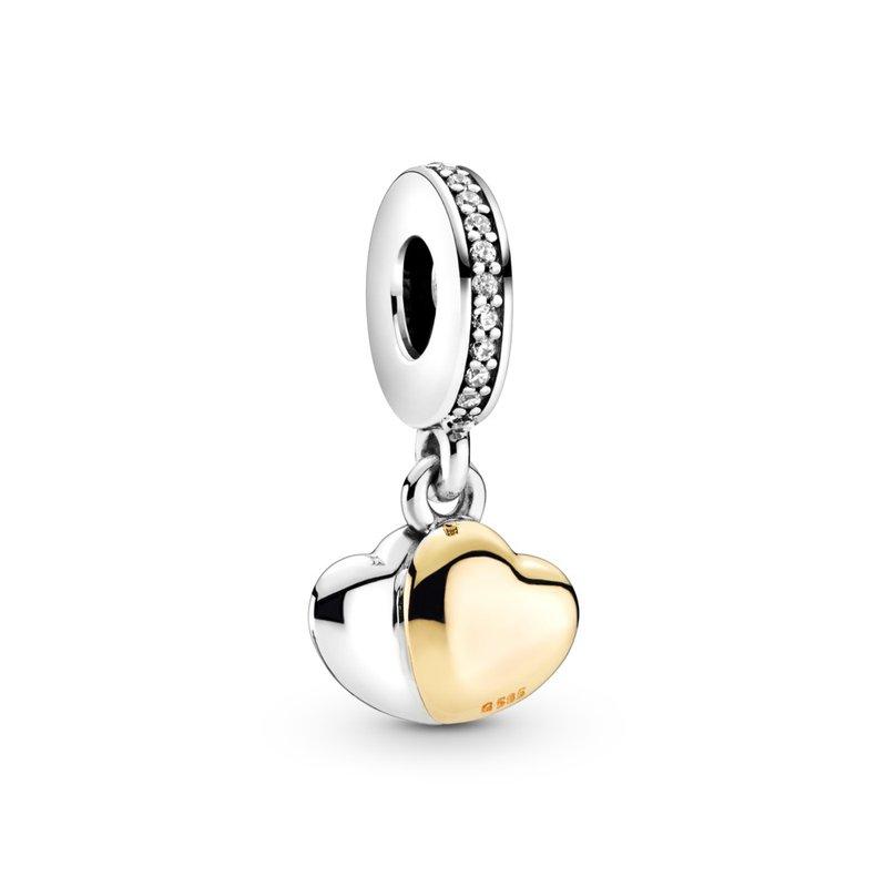 Pandora Two-Tone Double Heart Dangle Charm