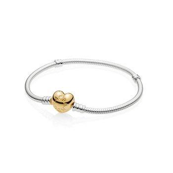 "Moments Heart Clasp Snake Chain Bracelet, 7.1"""