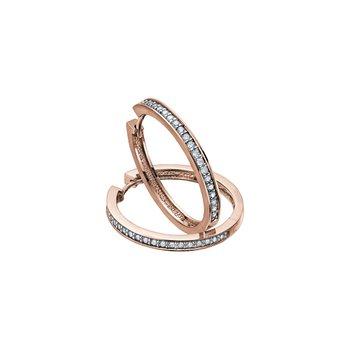 10K Diamond Hoop Earrings, 0.10ct