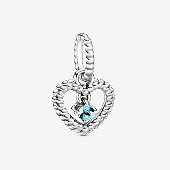 March Aqua Blue Beaded Heart Dangle Charm