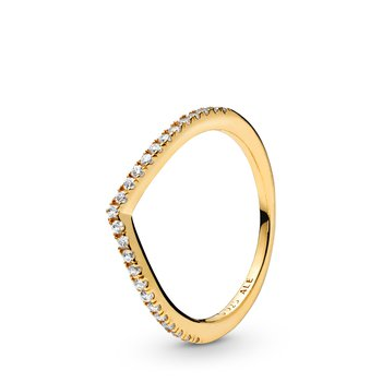Sparkling Wishbone Ring, size 7.0