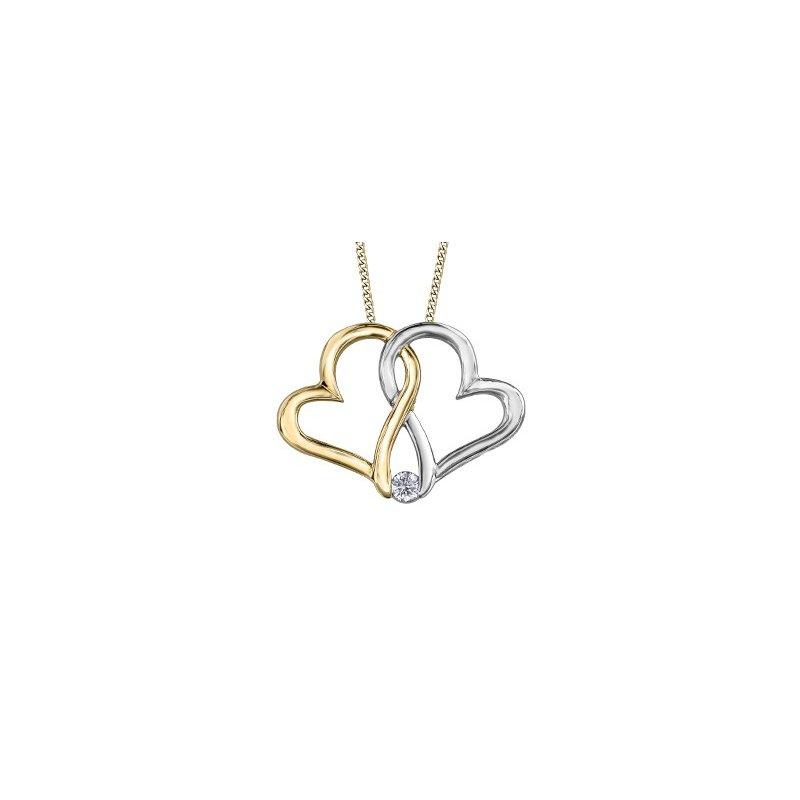 Maple Leaf Diamonds Double Heart Pendant