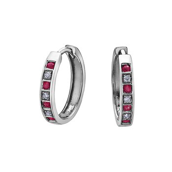 10k Ruby and Diamond Huggies