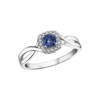 10K September Birthstone Halo Ring