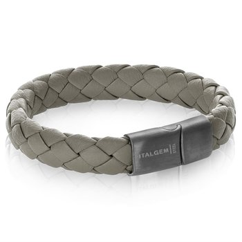 Wide Gray Leather Bracelet with Gunmetal Clasp