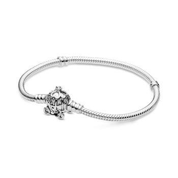 "Cinderella Pumpkin Coach Clasp Pandora Moments Bracelet, 7.9"""