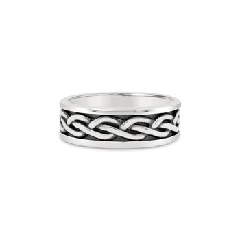 Sterling Silver Woven Patterned Band, 8 mm