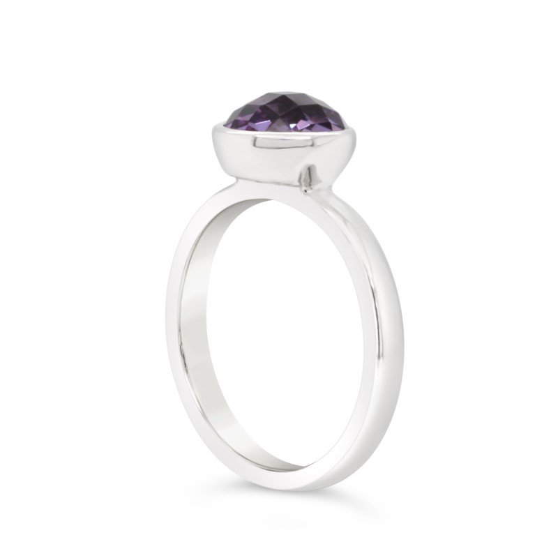 GNM Sterling Collection Checkerboard Amythest Ring