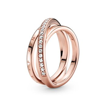 Crossover Pavé Triple Band Ring, sz 7.5