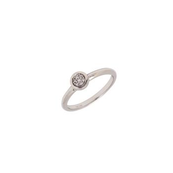 10K White Gold Bezel Set Diamond Cluster Ring 0.04TDW