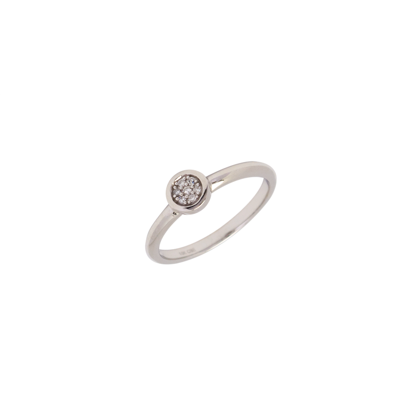 GNM Jewellery Collection 10K White Gold Bezel Set Diamond Cluster Ring 0.04TDW