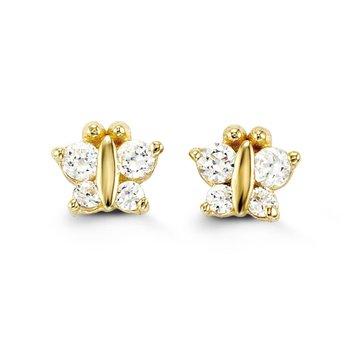 Baby Bella 14k Yellow Gold Butterfly Earrings