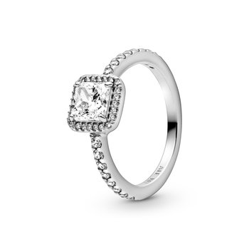 Square Sparkle Halo Ring, size 8.5