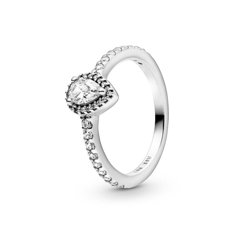 Pandora Classic Teardrop Halo Ring, size 6.0