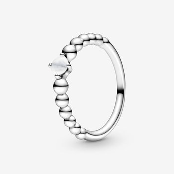 Milky White Beaded Ring, size 6.0
