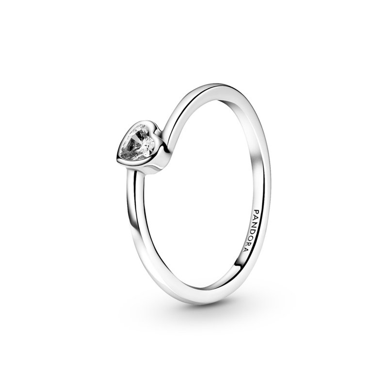 Pandora Clear Tilted Heart Solitiare Ring, size 7.0