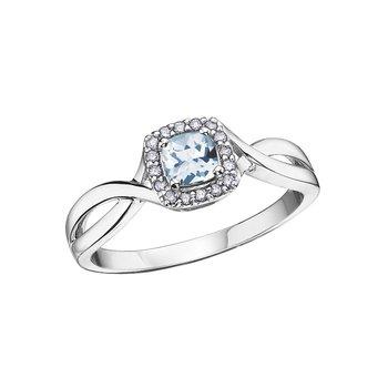10K March Birthstone Halo Ring