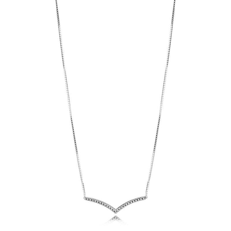 "Pandora Sparkling Wishbone Necklace, 17.7"""