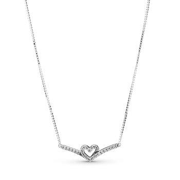 "Sparkling Wishbone Heart Collier Necklace, 17.7"""