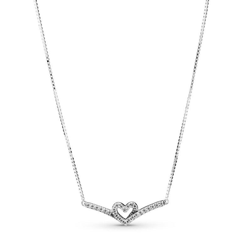 """Pandora Sparkling Wishbone Heart Collier Necklace, 17.7"""""""