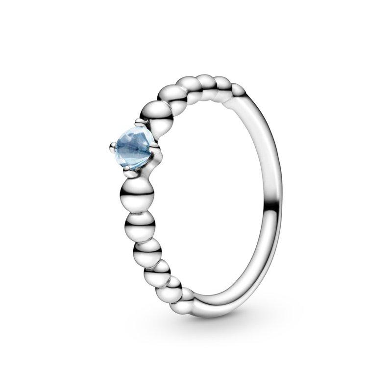Pandora March Aqua Blue Beaded Ring, size 6.0