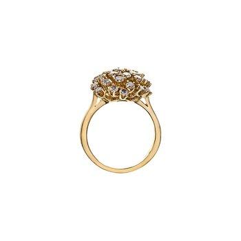 14k Yellow Gold Snowball Cluster Diamond Ring, 1.62 tdw