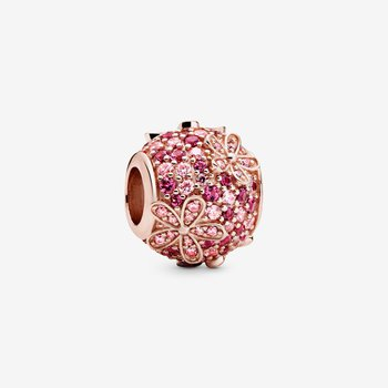 Pink Pave Daisy Flower Charm