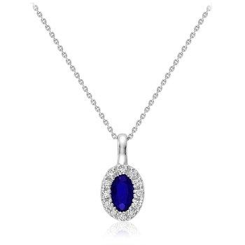 10K Sapphire & Diamond Pendant