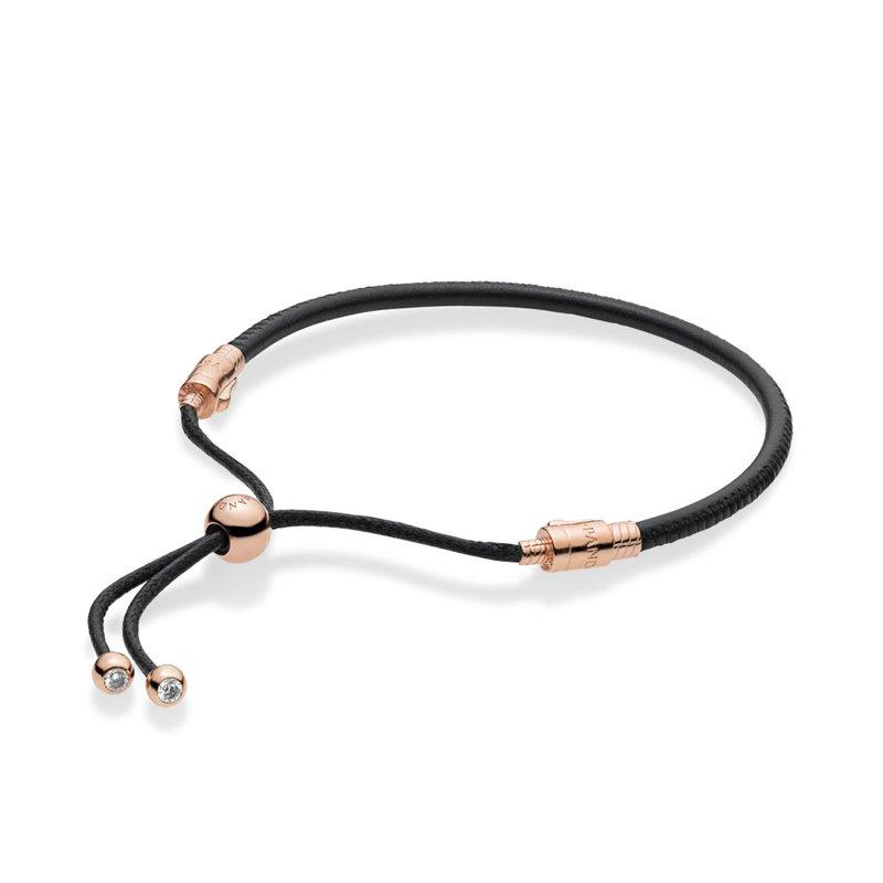 Moments Leather Slider Bracelet, Pandora Rose