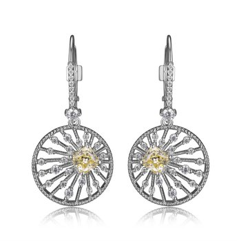 Starburst Dangle Earrings With CZ's