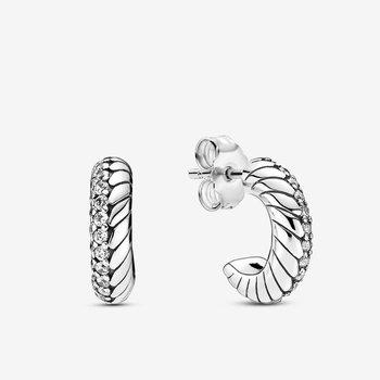 Pavé Snake Chain Pattern Hoop Earrings - FINAL SALE