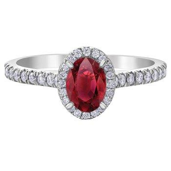 10K Ruby & Diamond Halo Ring