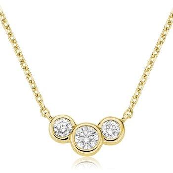 14k Three Stone Diamond Necklace