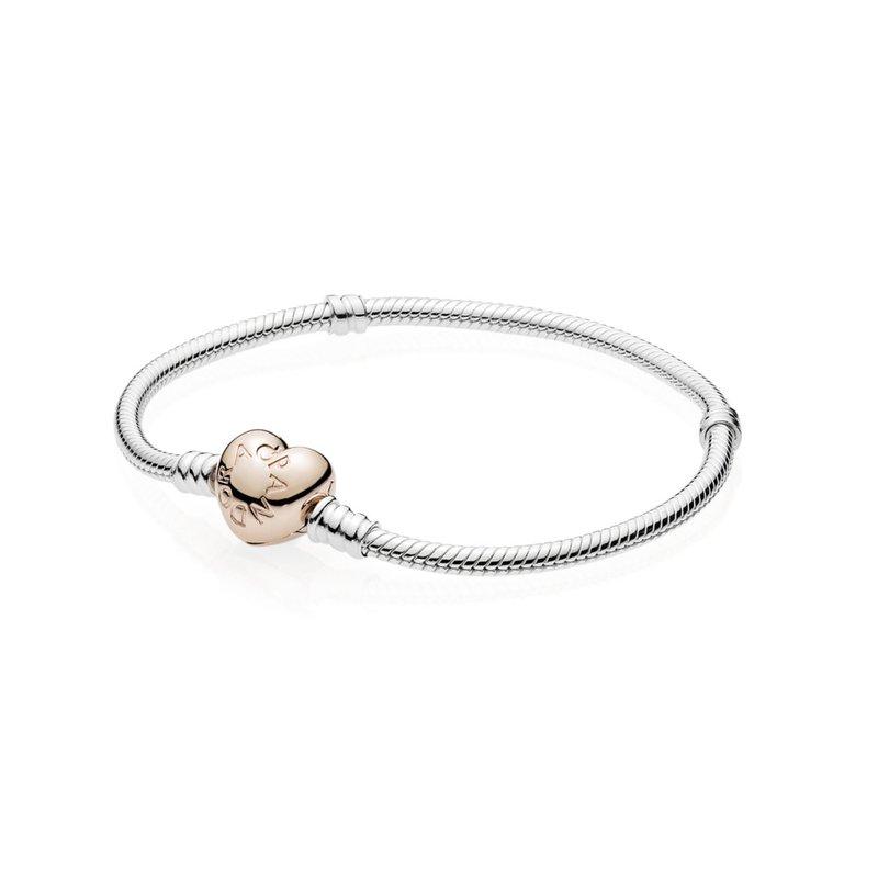 Moments Heart Clasp Snake Chain Bracelet, 7.1