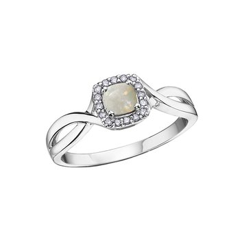 10K October Birthstone Halo Ring