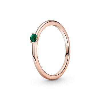 Green Solitiare Ring, size 7.5