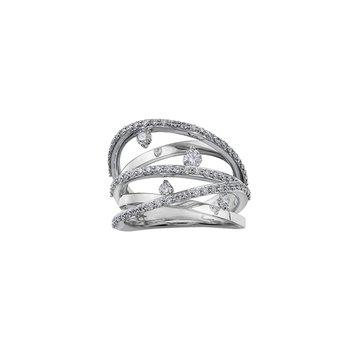 10K Cross Over Diamond Ring, 1.01 TDW