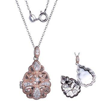 Rose & Sterling Silver Filigree Locket
