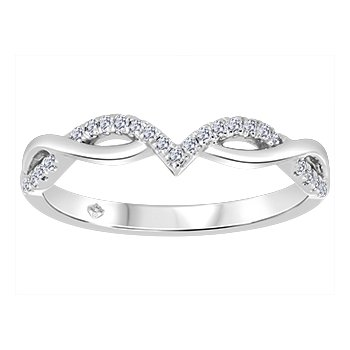 10K Chevron Diamond Ring