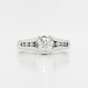14k Channel Set Diamond Engagement Ring, 0.74 TCW