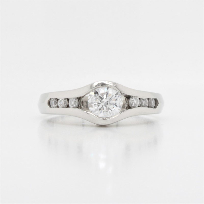 GNM Jewellery Collection 14k Channel Set Diamond Engagement Ring, 0.74 TCW