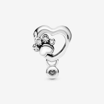 Sparkling Paw Print & Heart Charm