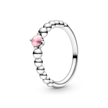 October Petal Pink Beaded Ring, size 6.0