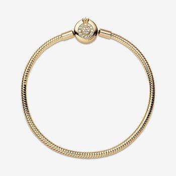 "Moments Sparkling Crown O Snake Chain Bracelet, 7.5"""