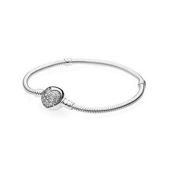 "Moments Sparkling Heart Clasp Snake Chain Bracelet, 7.9"""