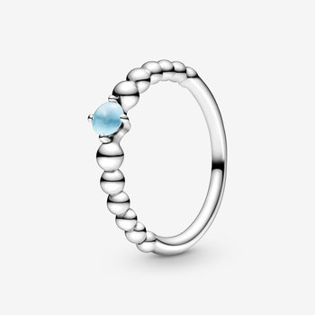 Sky Blue Beaded Ring, size 7.0